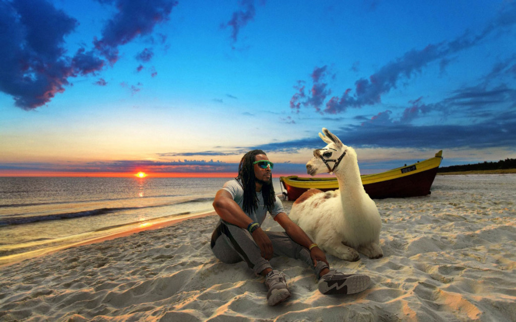Richard Sherman on the Beach with his Llama Friend